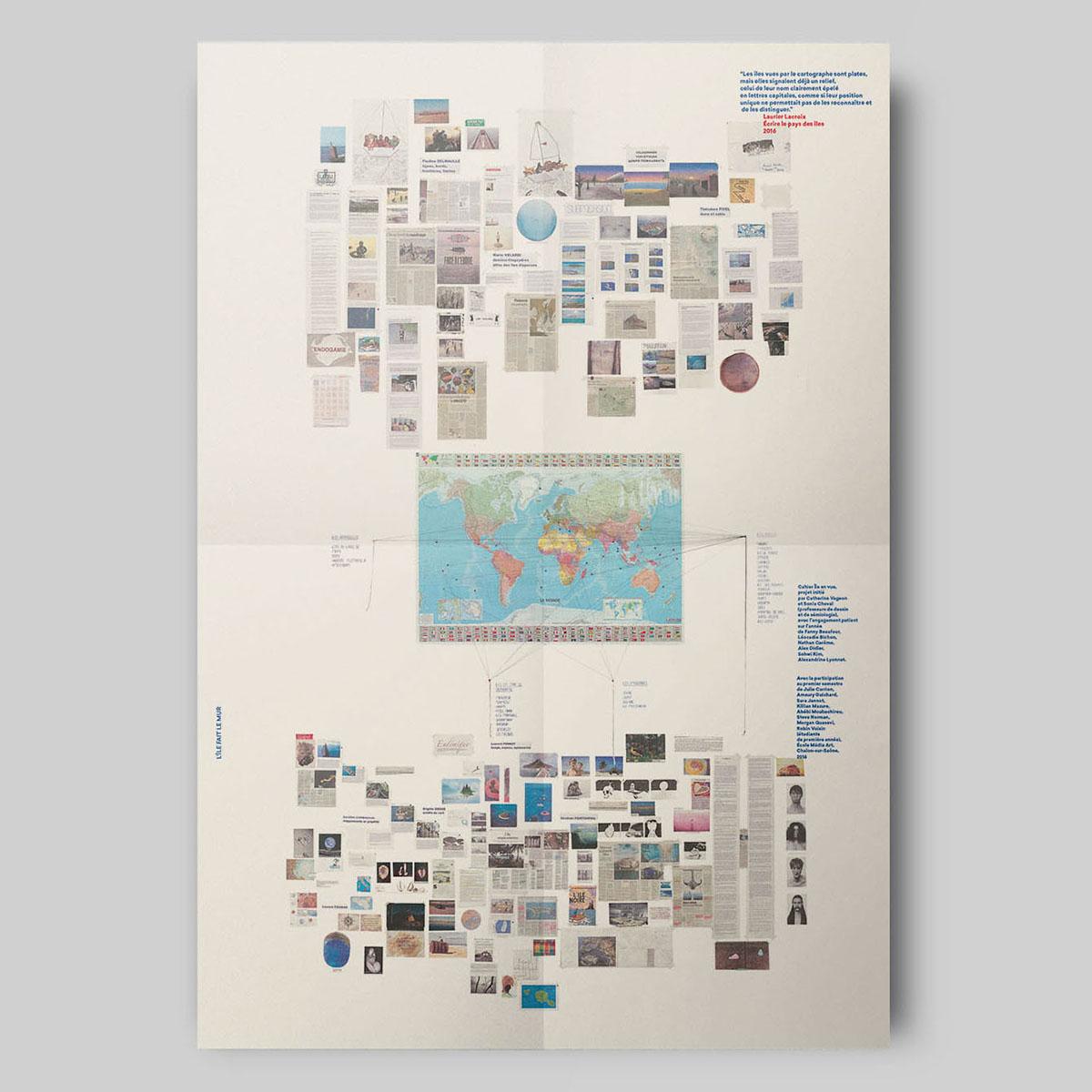 L'île fait le mur, feuillet en insert, format 59,4 x 84 cm.